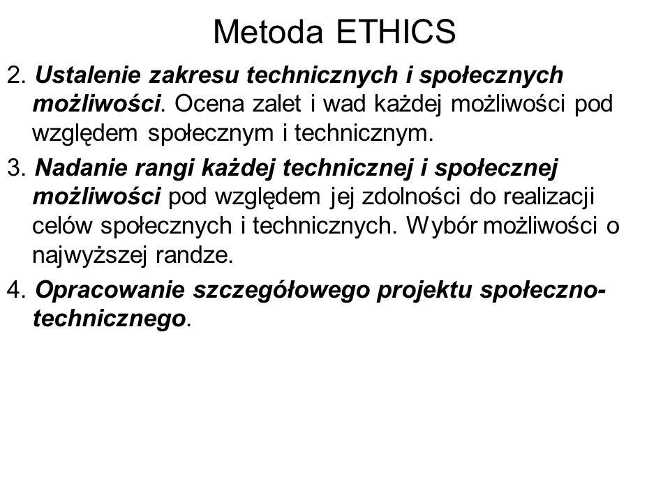 Metoda ETHICS 2. Ustalenie zakresu technicznych i społecznych możliwości. Ocena zalet i wad każdej możliwości pod względem społecznym i technicznym. 3