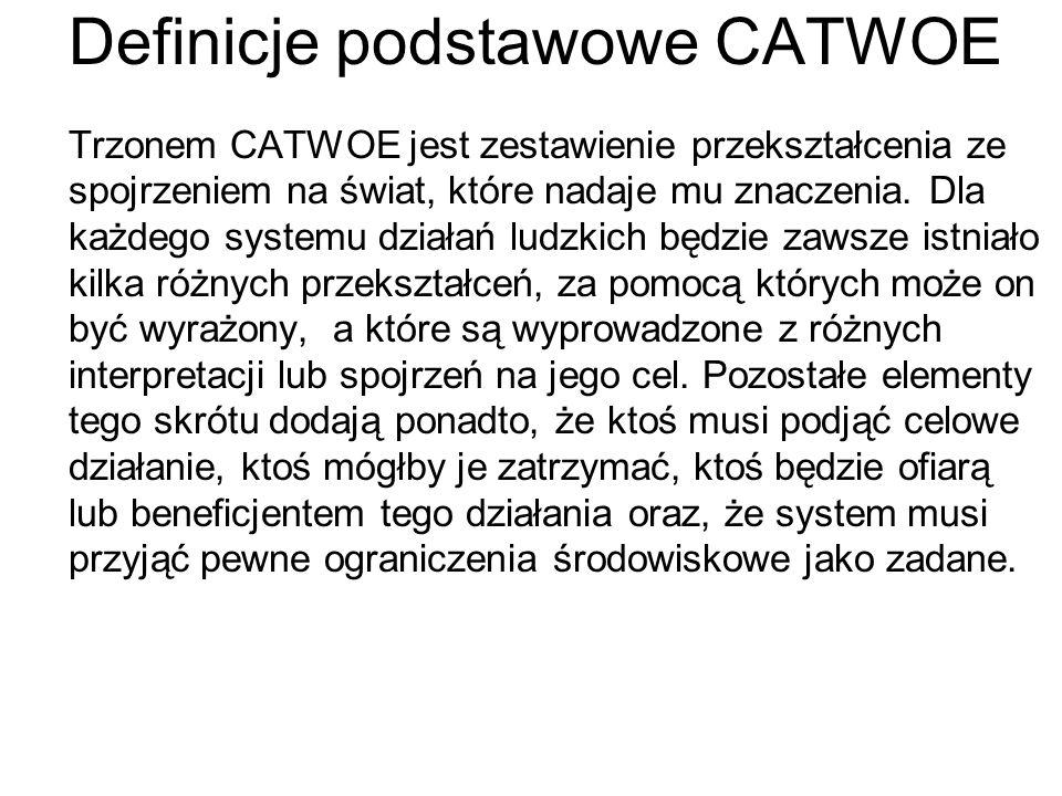 Definicje podstawowe CATWOE Trzonem CATWOE jest zestawienie przekształcenia ze spojrzeniem na świat, które nadaje mu znaczenia. Dla każdego systemu dz