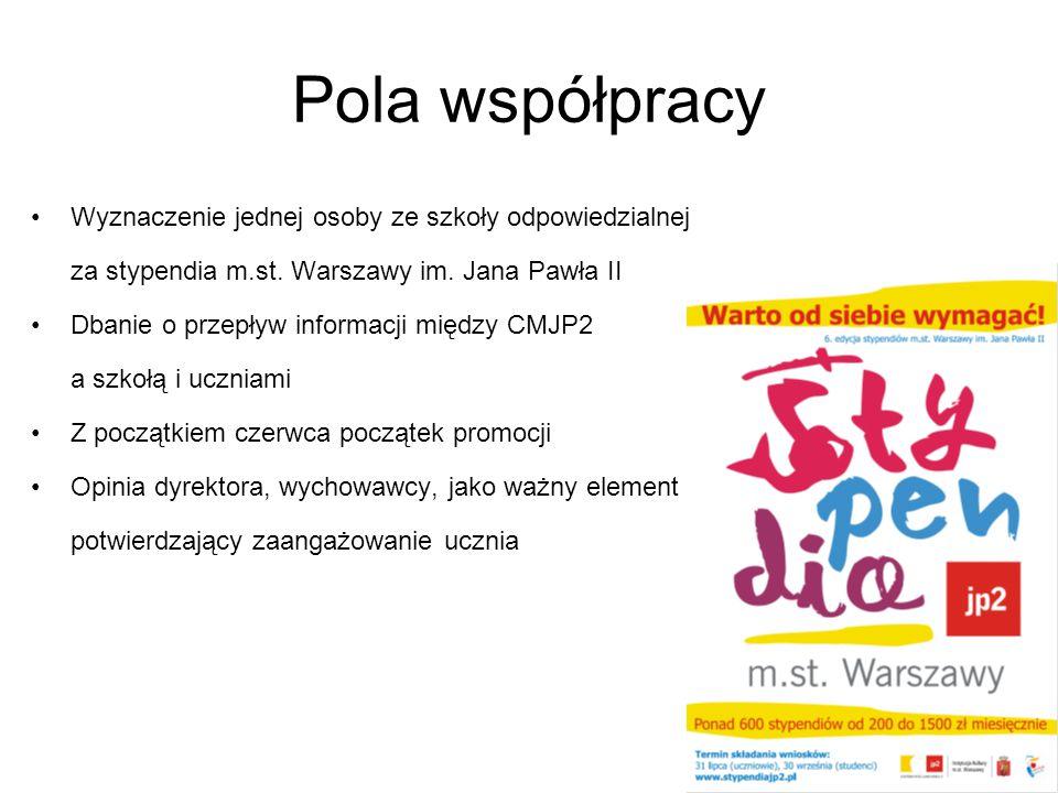 Pola współpracy Wyznaczenie jednej osoby ze szkoły odpowiedzialnej za stypendia m.st. Warszawy im. Jana Pawła II Dbanie o przepływ informacji między C