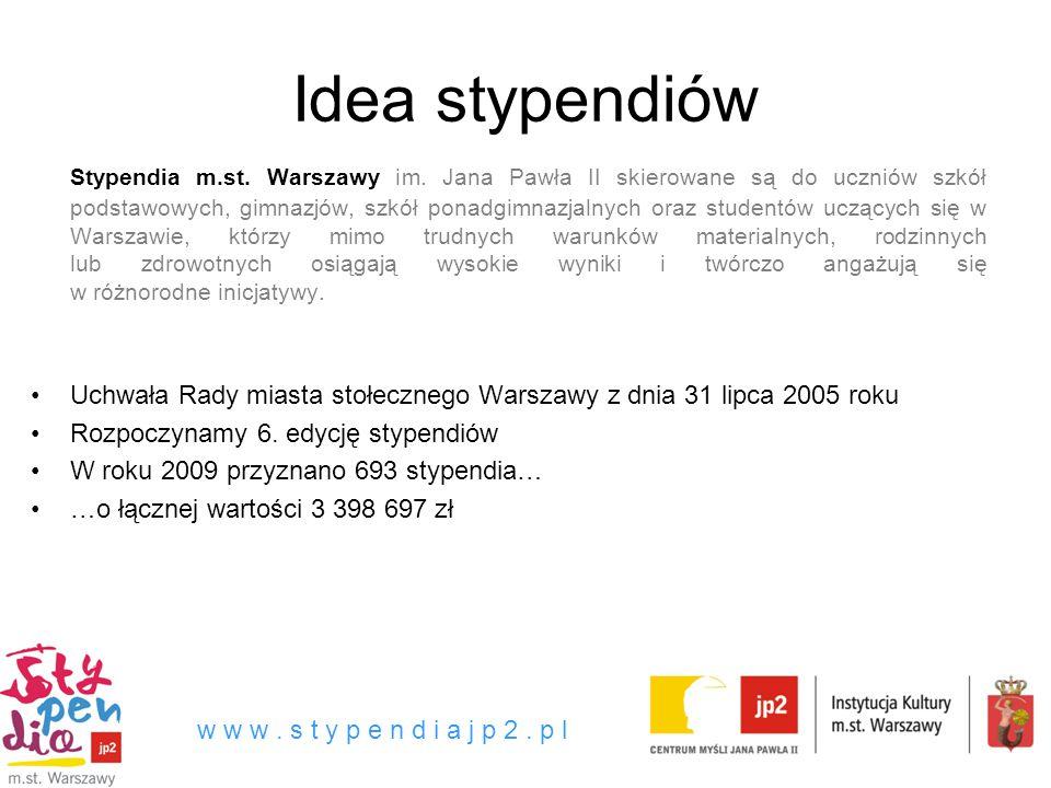 Idea stypendiów Stypendia m.st.Warszawy im.