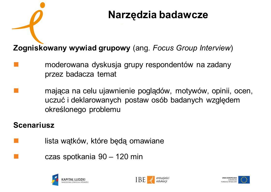 Zogniskowany wywiad grupowy (ang. Focus Group Interview) moderowana dyskusja grupy respondentów na zadany przez badacza temat mająca na celu ujawnieni