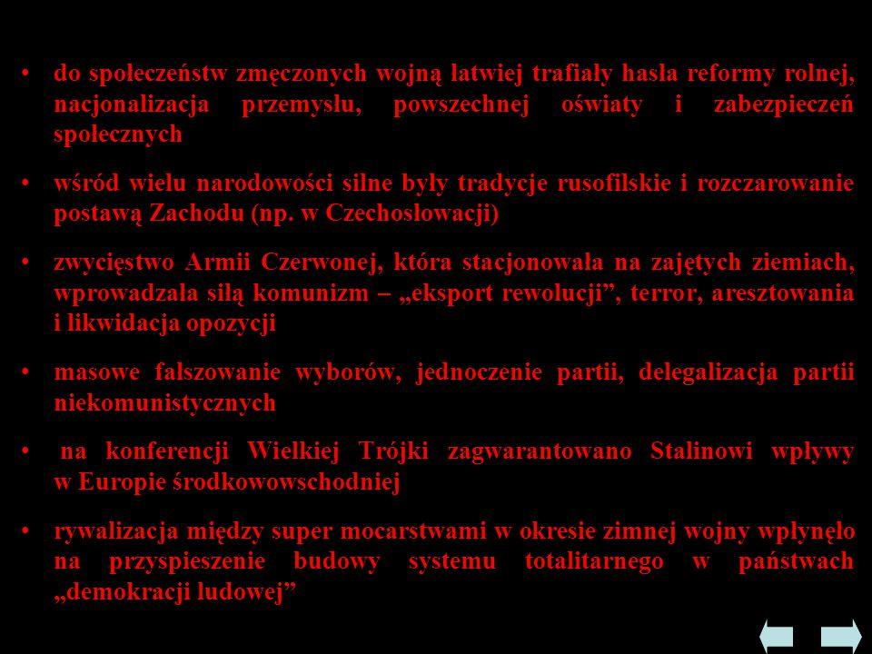 """ W XI 1945 odbyły się wybory parlamentarne - zwyciężył w nich komunistyczny Front Narodowy, który uzyskał 90% głosów i powołał nowy rząd  W I 1946 uchwalono konstytucję i ogłoszono Jugosławię Federacyjną Ludową Republiką - terror, likwidacja opozycji, obozy koncentracyjne - Josip Broz Tito przeciwstawił się Moskwie - chciał stworzyć federację bałkańską z udziałem Jugosławii i Bułgarii  Oskarżenie w 1948 JBT o """"błędy i odstępstwa od marksizmu- leninizmu i o nacjonalizm  Postawa Tito była nieugięta wobec Moskwy - zdobył sobie tym poparcie wśród społeczeństwa"""