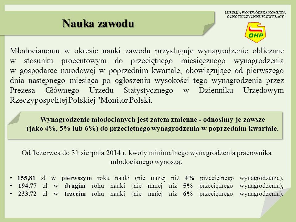 Młodocianemu w okresie nauki zawodu przysługuje wynagrodzenie obliczane w stosunku procentowym do przeciętnego miesięcznego wynagrodzenia w gospodarce narodowej w poprzednim kwartale, obowiązujące od pierwszego dnia następnego miesiąca po ogłoszeniu wysokości tego wynagrodzenia przez Prezesa Głównego Urzędu Statystycznego w Dzienniku Urzędowym Rzeczypospolitej Polskiej Monitor Polski.
