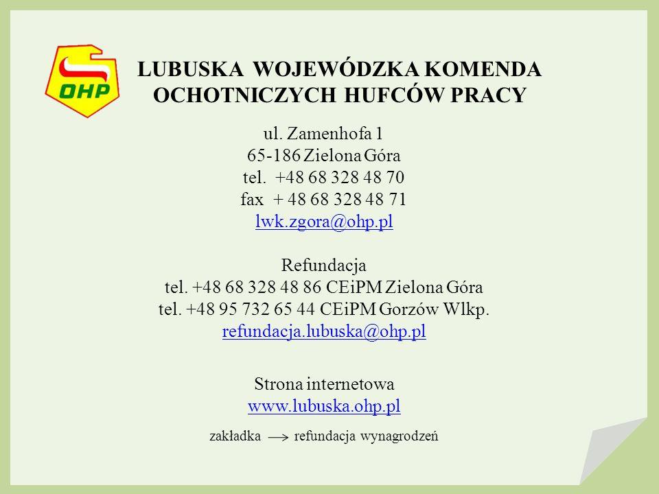 LUBUSKA WOJEWÓDZKA KOMENDA OCHOTNICZYCH HUFCÓW PRACY ul.