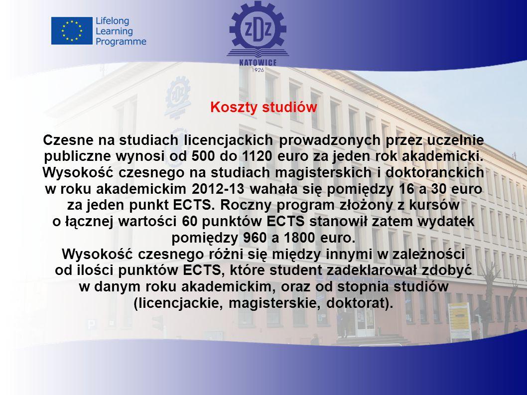 Koszty studiów Czesne na studiach licencjackich prowadzonych przez uczelnie publiczne wynosi od 500 do 1120 euro za jeden rok akademicki.
