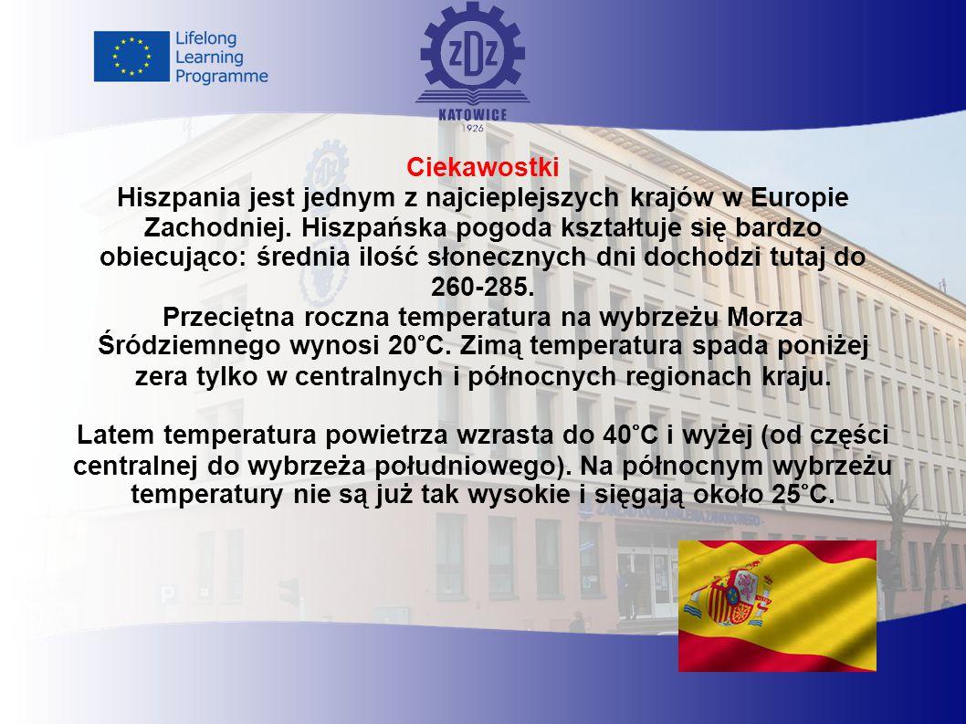 Ciekawostki Hiszpania jest jednym z najcieplejszych krajów w Europie Zachodniej.