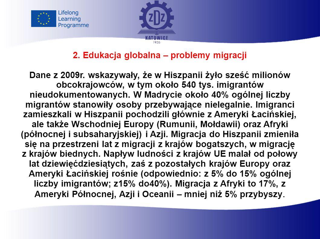 2. Edukacja globalna – problemy migracji Dane z 2009r.