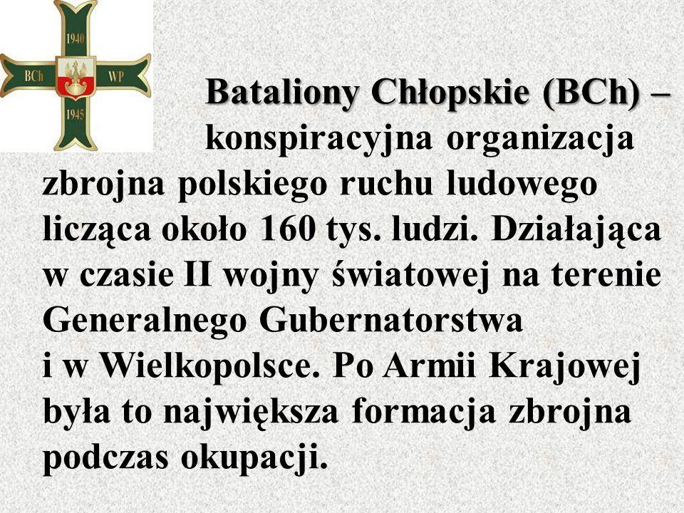Bataliony Chłopskie (BCh) – Bataliony Chłopskie (BCh) – konspiracyjna organizacja zbrojna polskiego ruchu ludowego licząca około 160 tys.