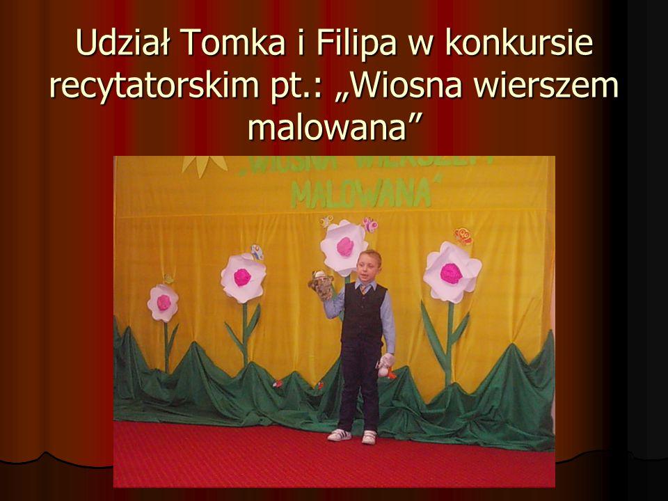 """Udział Tomka i Filipa w konkursie recytatorskim pt.: """"Wiosna wierszem malowana"""