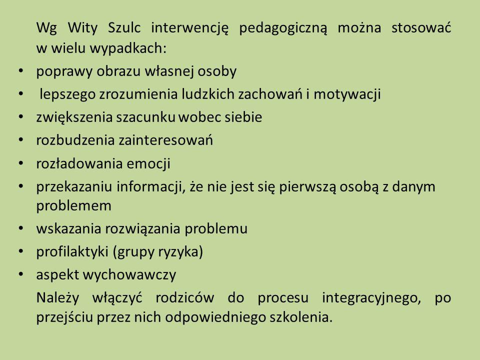 Wg Wity Szulc interwencję pedagogiczną można stosować w wielu wypadkach: poprawy obrazu własnej osoby lepszego zrozumienia ludzkich zachowań i motywac
