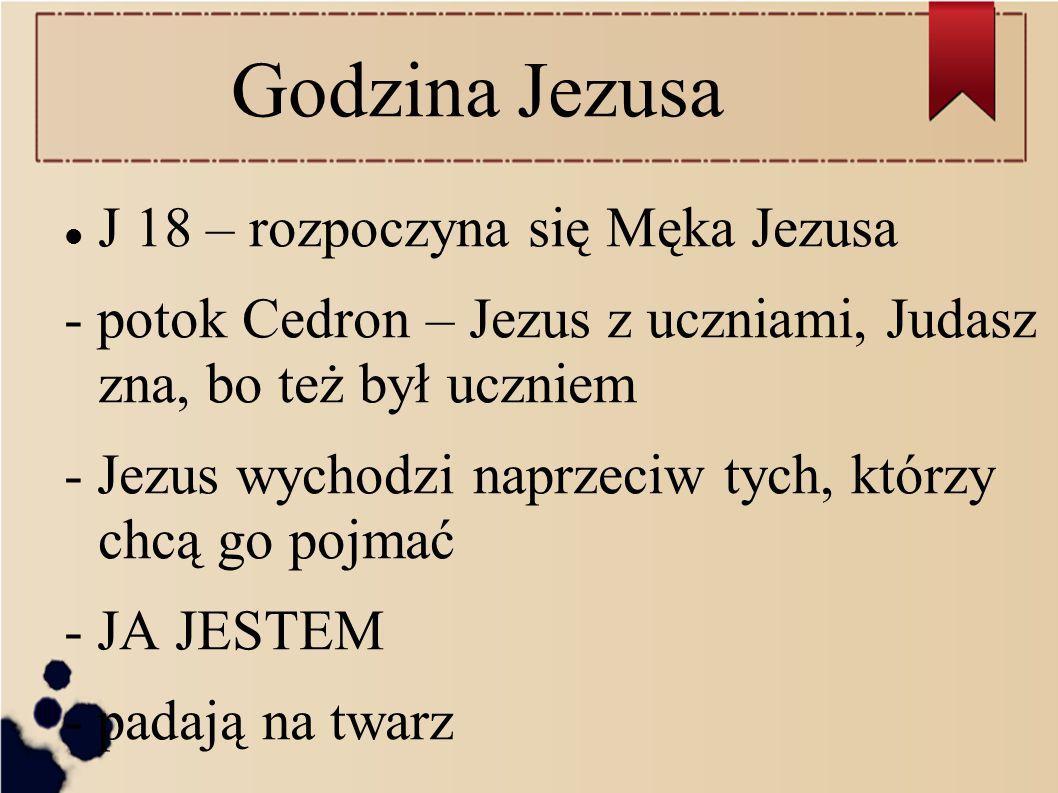 Godzina Jezusa J 18 – rozpoczyna się Męka Jezusa - potok Cedron – Jezus z uczniami, Judasz zna, bo też był uczniem - Jezus wychodzi naprzeciw tych, kt