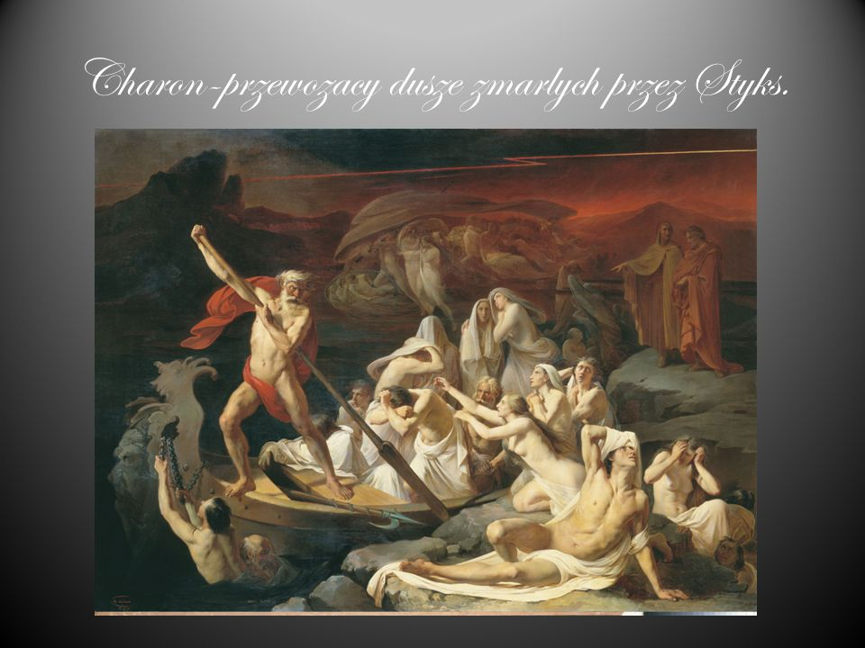 """Charon (gr. Χάρων Chárōn, łac. Charon, etr. Charun) – w mitologii greckiej przewoźnik dusz przez rzekę Acheron (lub Styks); w mitologii etruskiej """"dem"""