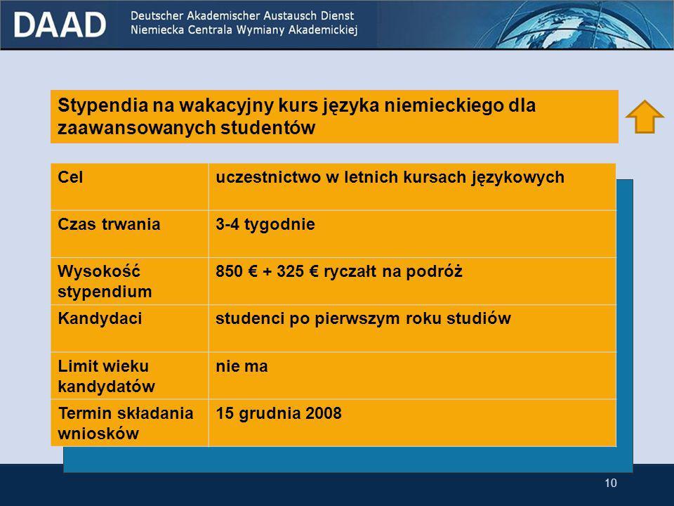 9 Stypendia na wakacyjny kurs języka niemieckiego dla zaawansowanych studentów przynależących do niemieckiej mniejszości narodowej w Polsce Stypendia na wakacyjny kurs języka niemieckiego dla zaawansowanych studentów Stypendia krótkoterminowe dla studentów germanistyki ostatniego roku Stypendia na podróże grupowe do Niemiec dla polskich grup studenckich 3.1 Stypendia dla studentów Stypendia krótkoterminowe dla studentów germanistyki ostatniego roku przynależących do niemieckiej mniejszości narodowej