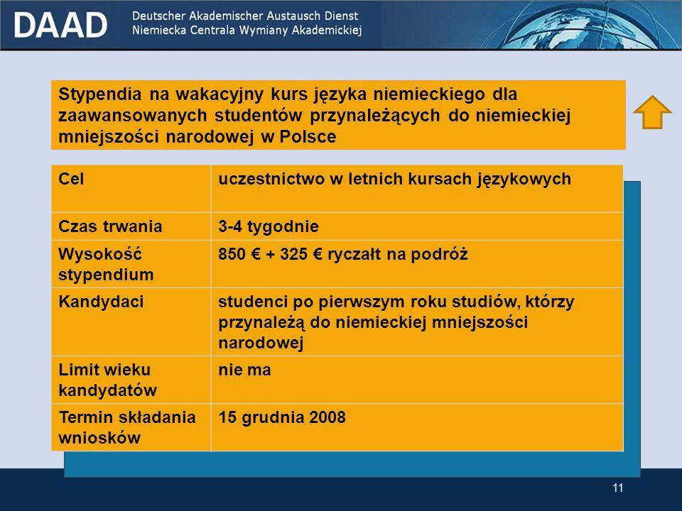 Stypendia na wakacyjny kurs języka niemieckiego dla zaawansowanych studentów Celuczestnictwo w letnich kursach językowych Czas trwania3-4 tygodnie Wysokość stypendium 850 € + 325 € ryczałt na podróż Kandydacistudenci po pierwszym roku studiów Limit wieku kandydatów nie ma Termin składania wniosków 15 grudnia 2008 10