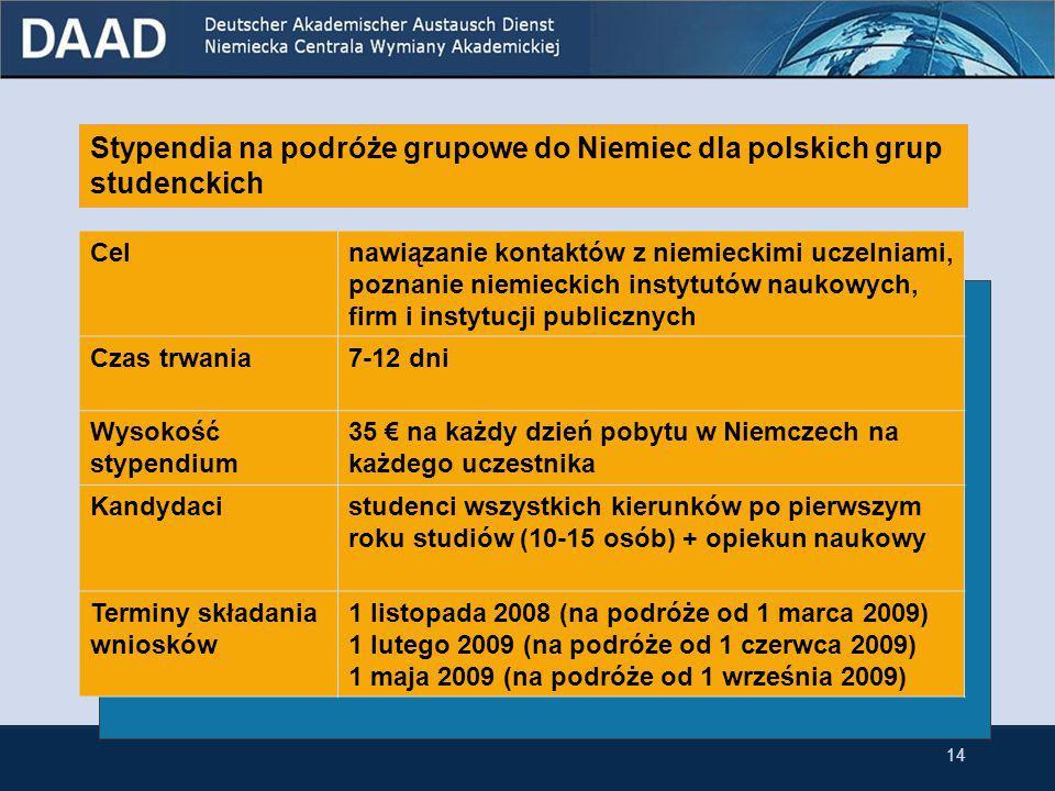 Stypendia krótkoterminowe dla studentów germanistyki ostatniego roku przynależących do niemieckiej mniejszości narodowej w Polsce Celzebranie materiałów do pracy magisterskiej składanej na polskiej uczelni Czas trwania1-3 miesięcy Wysokość stypendium 650 € miesięcznie + dodatkowe świadczenia Kandydacistudenci, którzy w momencie rozpoczęcia stypendium będą na ostatnim roku studiów Limit wieku kandydatów nie ma Termin składania wniosków 15 grudnia 2008 13