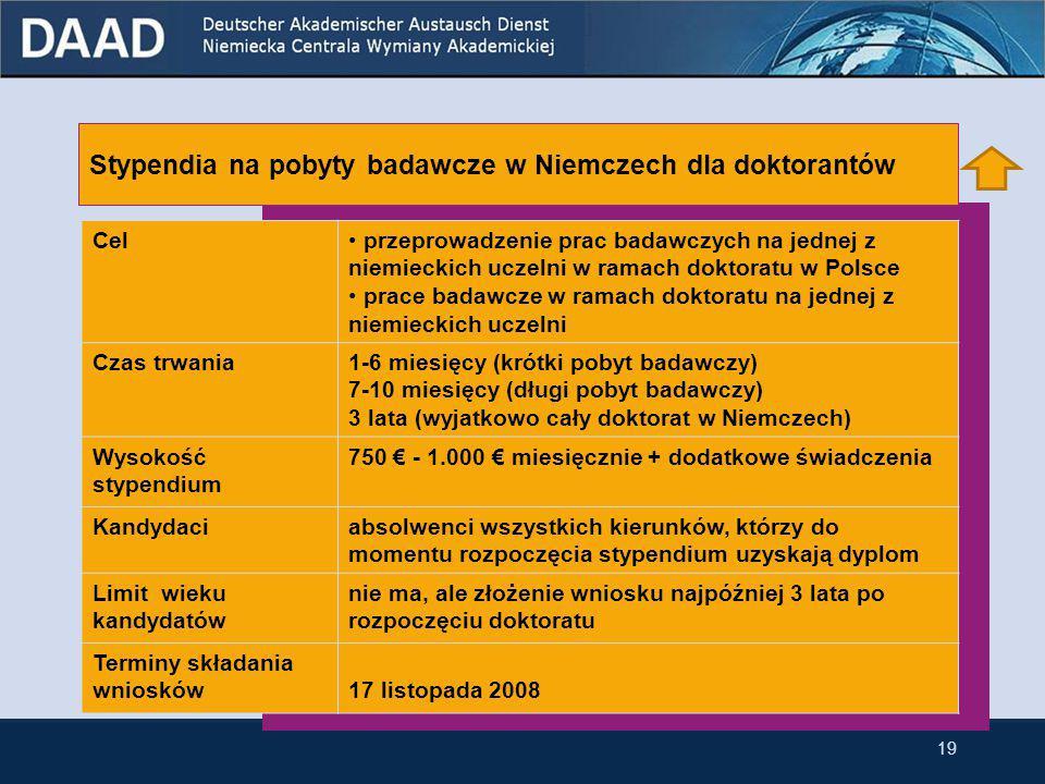 18 Stypendia na pobyty badawcze w Niemczech dla doktorantów Stypendia na pobyty badawcze w Niemczech dla doktorantów przynależących do niemieckiej mniejszości narodowej w Polsce 3.3 Stypendia dla doktorantów
