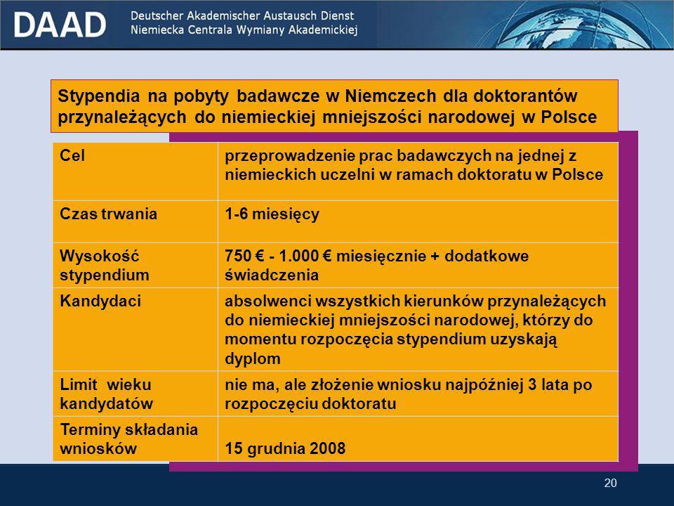 Stypendia na pobyty badawcze w Niemczech dla doktorantów Cel przeprowadzenie prac badawczych na jednej z niemieckich uczelni w ramach doktoratu w Polsce prace badawcze w ramach doktoratu na jednej z niemieckich uczelni Czas trwania1-6 miesięcy (krótki pobyt badawczy) 7-10 miesięcy (długi pobyt badawczy) 3 lata (wyjatkowo cały doktorat w Niemczech) Wysokość stypendium 750 € - 1.000 € miesięcznie + dodatkowe świadczenia Kandydaciabsolwenci wszystkich kierunków, którzy do momentu rozpoczęcia stypendium uzyskają dyplom Limit wieku kandydatów nie ma, ale złożenie wniosku najpóźniej 3 lata po rozpoczęciu doktoratu Terminy składania wniosków17 listopada 2008 19