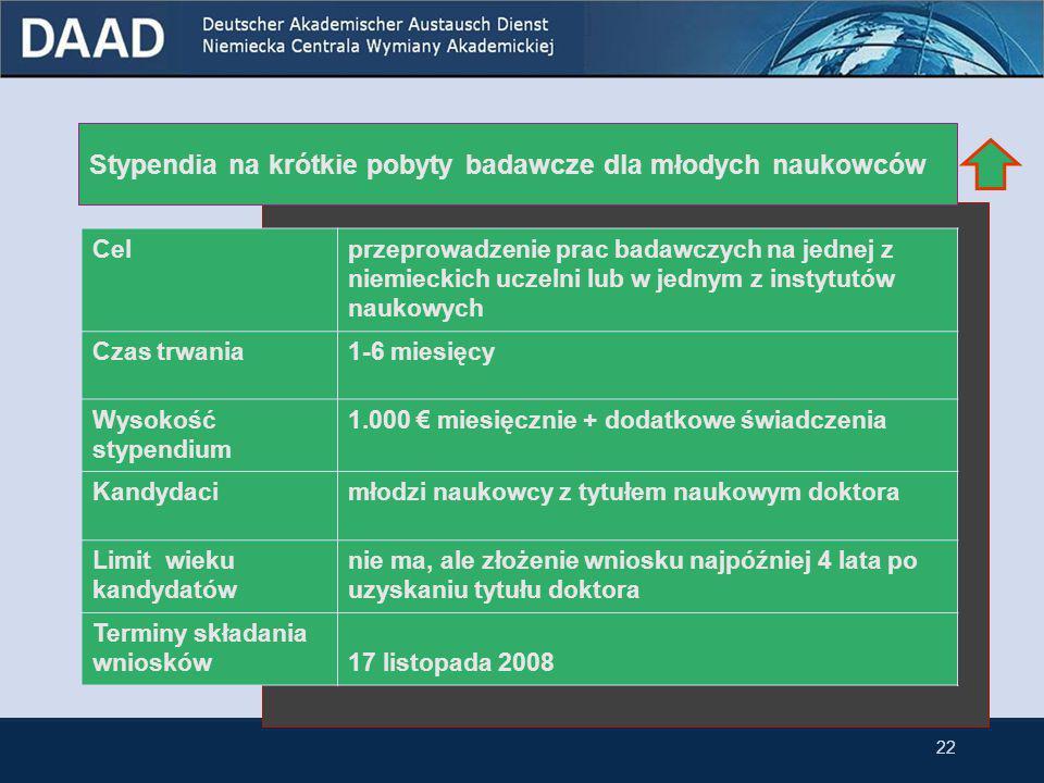 21 3.4 Stypendia dla naukowców (postdoc) Stypendia na krótkie pobyty badawcze dla młodych naukowców Powtórne stypendium dla byłych stypendystów DAAD S