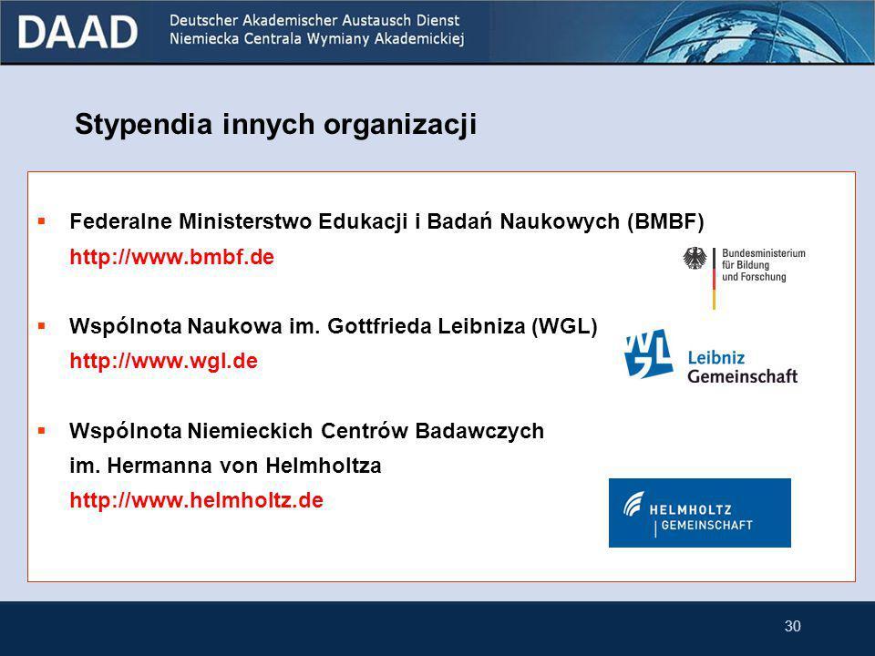 29 Stypendia innych organizacji  Fundacja im. Alexandra von Humboldta (AvH) http://www.humboldt-foundation.de  Niemiecka Wspólnota Badawcza (DFG) ht