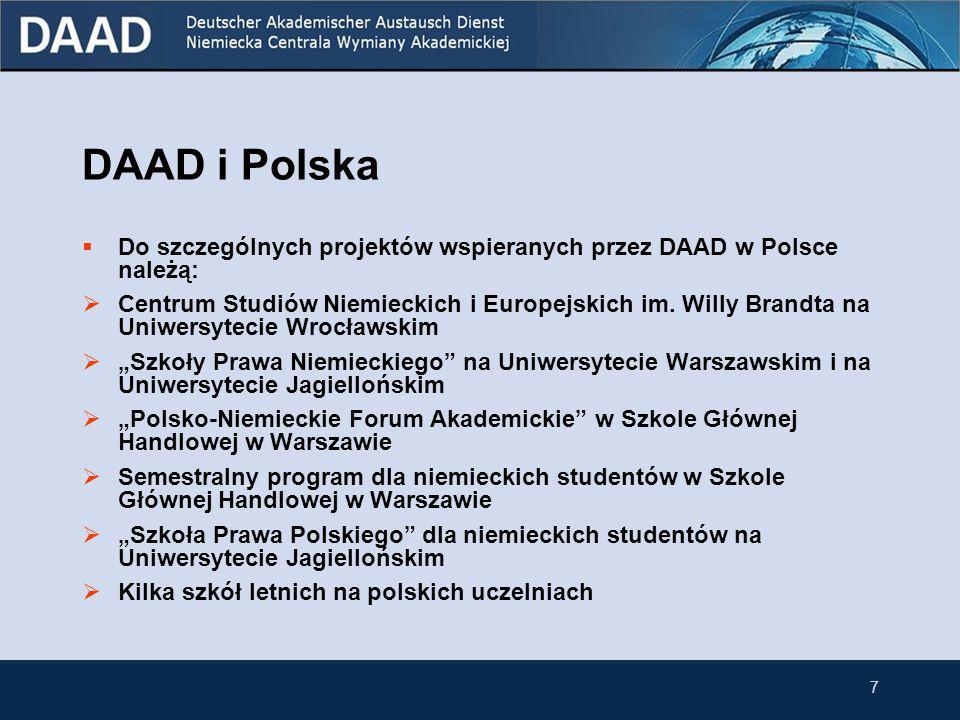 6 2. DAAD i Polska  W roku 2007 w ramach programów stypendialnych wsparcie otrzymało 3121 Polaków i 2943 Niemców.  Przedstawicielstwo DAAD w Warszaw
