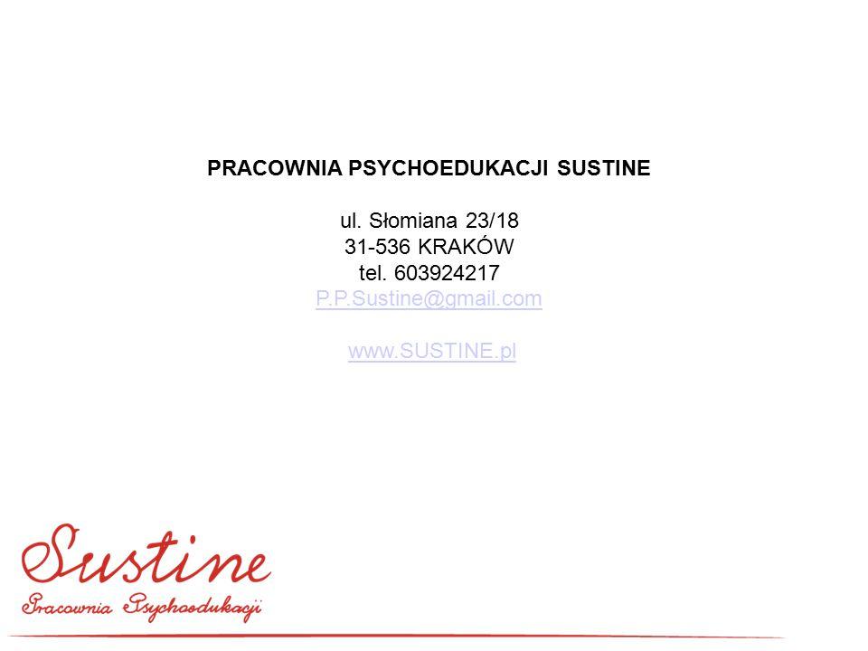 PRACOWNIA PSYCHOEDUKACJI SUSTINE ul. Słomiana 23/18 31-536 KRAKÓW tel. 603924217 P.P.Sustine@gmail.com www.SUSTINE.pl