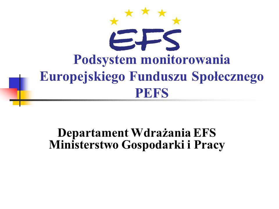 Departament Wdrażania EFS Ministerstwo Gospodarki i Pracy Podsystem monitorowania Europejskiego Funduszu Społecznego PEFS