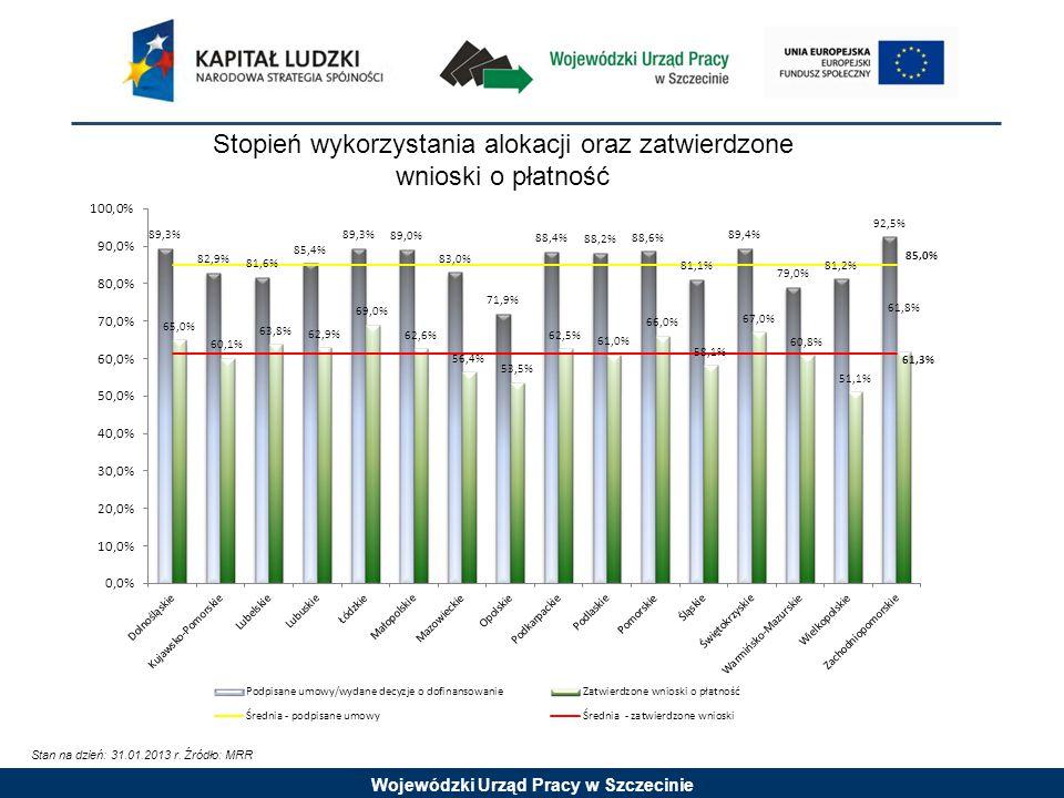 Wojewódzki Urząd Pracy w Szczecinie Wydatki certyfikowane do Komisji Europejskiej Stan na dzień: 31.01.2013 r.