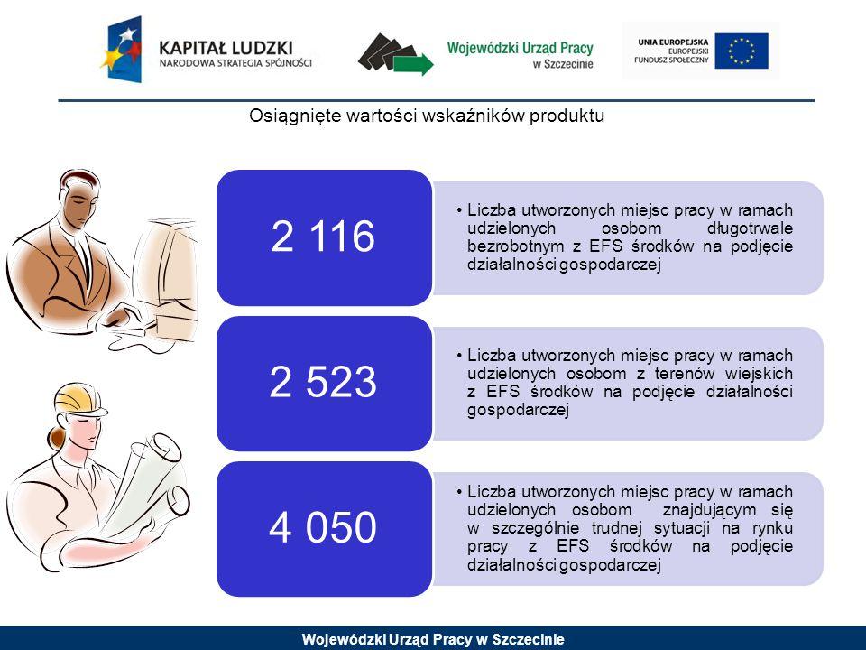Wojewódzki Urząd Pracy w Szczecinie Liczba klientów instytucji pomocy społecznej objętych kontraktami socjalnymi w ramach realizowanych projektów 15 384 Liczba osób, które otrzymały wsparcie w ramach instytucji ekonomii społecznej 7 282 Osiągnięte wartości wskaźników produktu