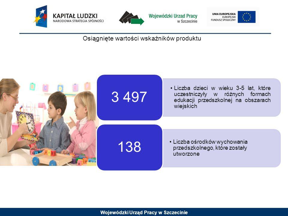 Wojewódzki Urząd Pracy w Szczecinie Osiągnięte wartości wskaźników produktu Liczba dzieci w wieku 3-5 lat, które uczestniczyły w różnych formach edukacji przedszkolnej na obszarach wiejskich 3 497 Liczba ośrodków wychowania przedszkolnego, które zostały utworzone 138