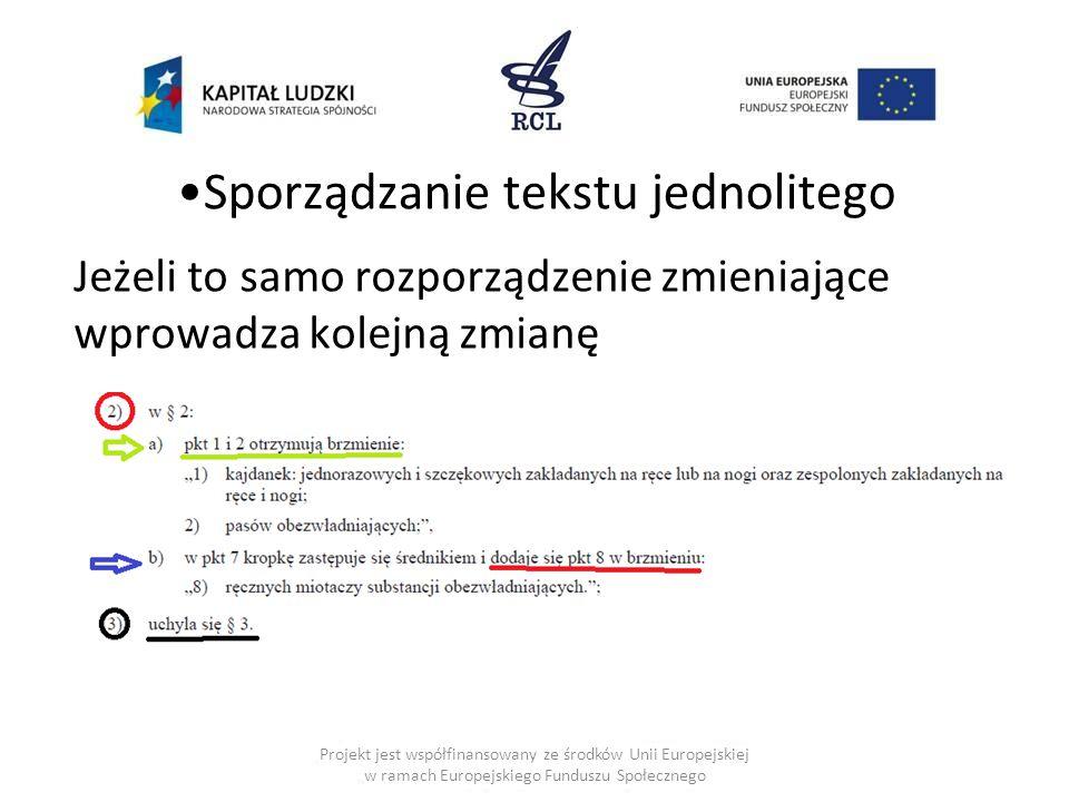 Sporządzanie tekstu jednolitego Jeżeli to samo rozporządzenie zmieniające wprowadza kolejną zmianę Projekt jest współfinansowany ze środków Unii Europejskiej w ramach Europejskiego Funduszu Społecznego