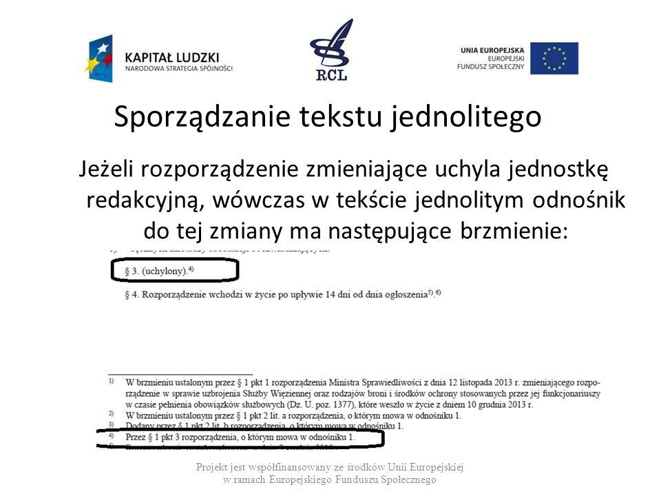 Sporządzanie tekstu jednolitego Jeżeli rozporządzenie zmieniające uchyla jednostkę redakcyjną, wówczas w tekście jednolitym odnośnik do tej zmiany ma następujące brzmienie: Projekt jest współfinansowany ze środków Unii Europejskiej w ramach Europejskiego Funduszu Społecznego