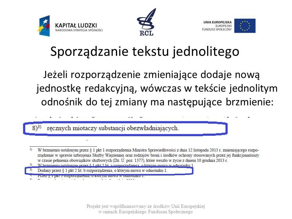 Sporządzanie tekstu jednolitego Jeżeli rozporządzenie zmieniające dodaje nową jednostkę redakcyjną, wówczas w tekście jednolitym odnośnik do tej zmiany ma następujące brzmienie: Projekt jest współfinansowany ze środków Unii Europejskiej w ramach Europejskiego Funduszu Społecznego