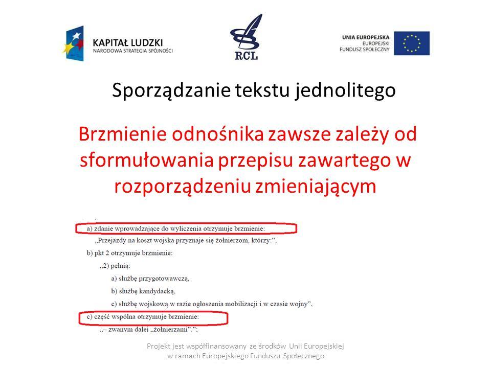 Sporządzanie tekstu jednolitego Projekt jest współfinansowany ze środków Unii Europejskiej w ramach Europejskiego Funduszu Społecznego Brzmienie odnośnika zawsze zależy od sformułowania przepisu zawartego w rozporządzeniu zmieniającym