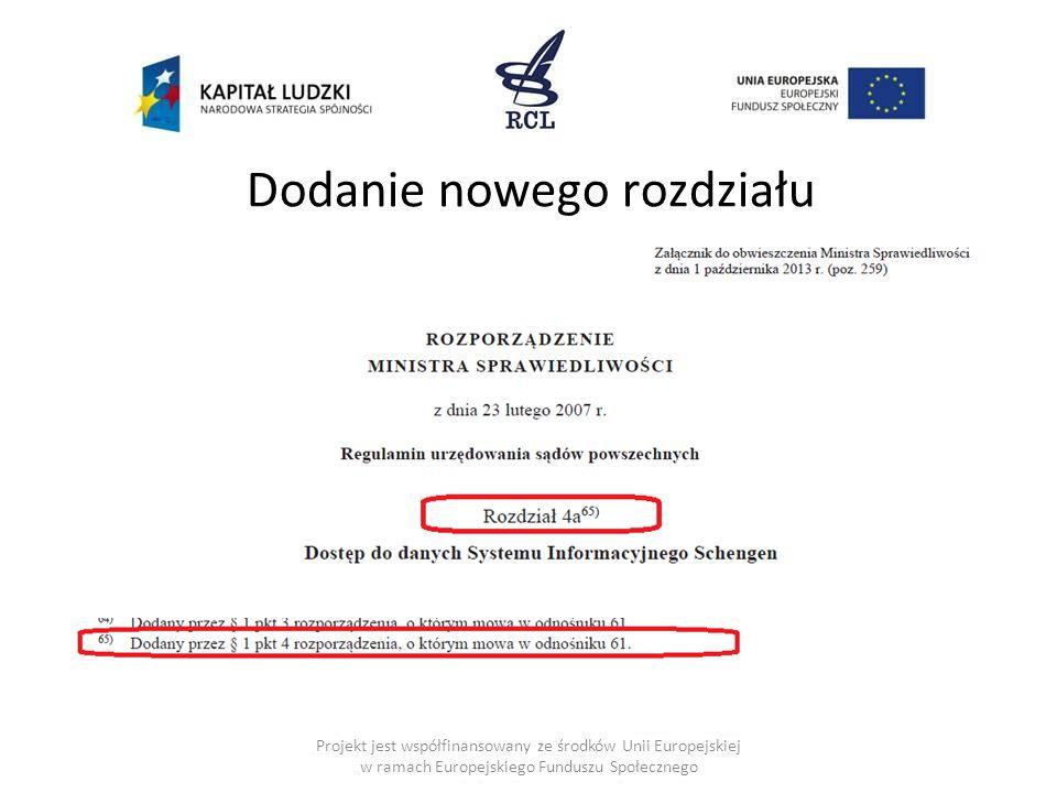Dodanie nowego rozdziału Projekt jest współfinansowany ze środków Unii Europejskiej w ramach Europejskiego Funduszu Społecznego
