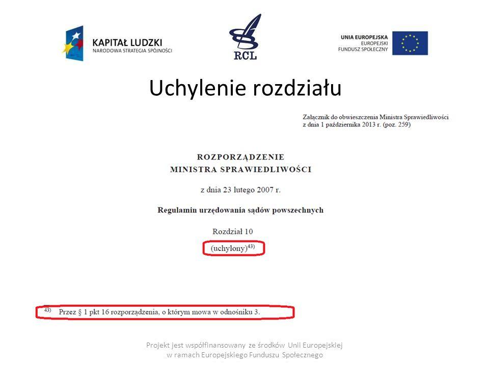 Uchylenie rozdziału Projekt jest współfinansowany ze środków Unii Europejskiej w ramach Europejskiego Funduszu Społecznego