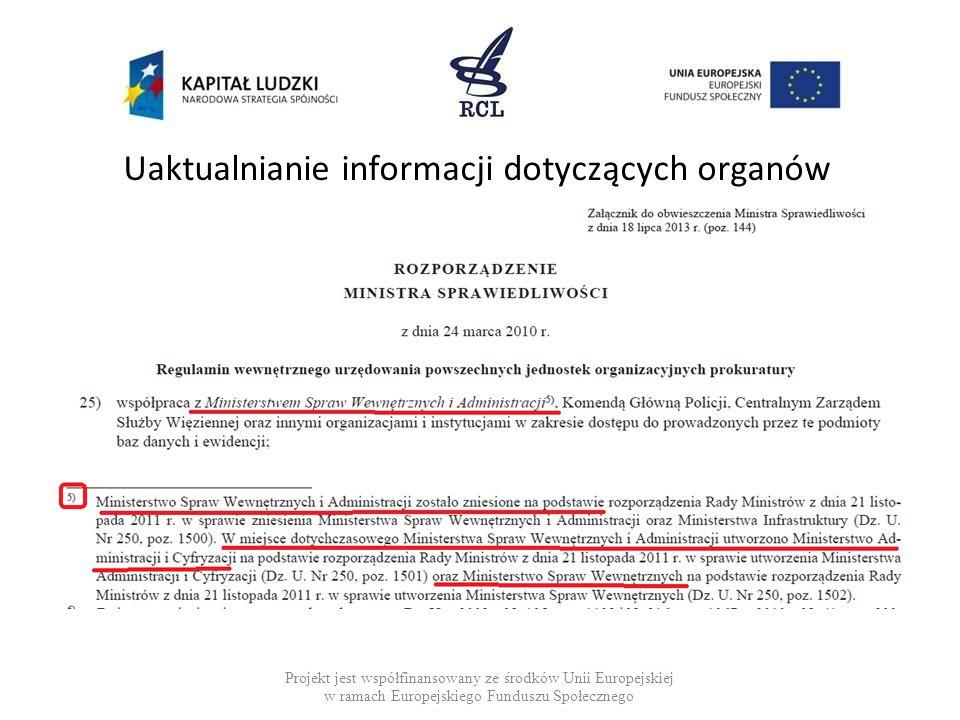 Uaktualnianie informacji dotyczących organów Projekt jest współfinansowany ze środków Unii Europejskiej w ramach Europejskiego Funduszu Społecznego
