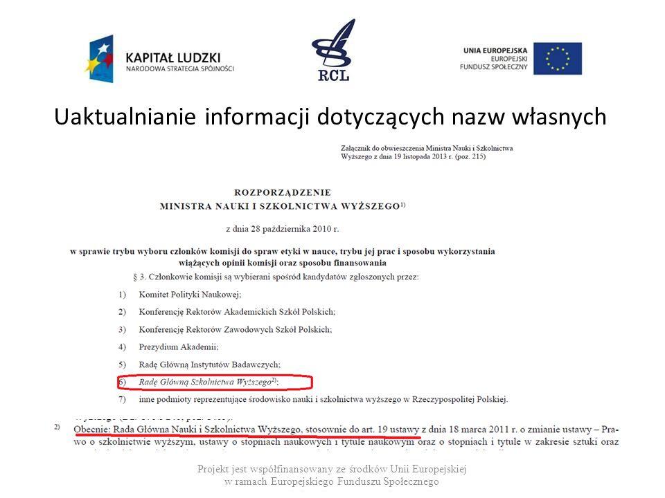 Uaktualnianie informacji dotyczących nazw własnych Projekt jest współfinansowany ze środków Unii Europejskiej w ramach Europejskiego Funduszu Społecznego
