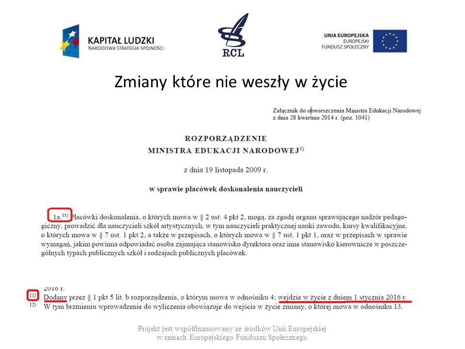 Zmiany które nie weszły w życie Projekt jest współfinansowany ze środków Unii Europejskiej w ramach Europejskiego Funduszu Społecznego