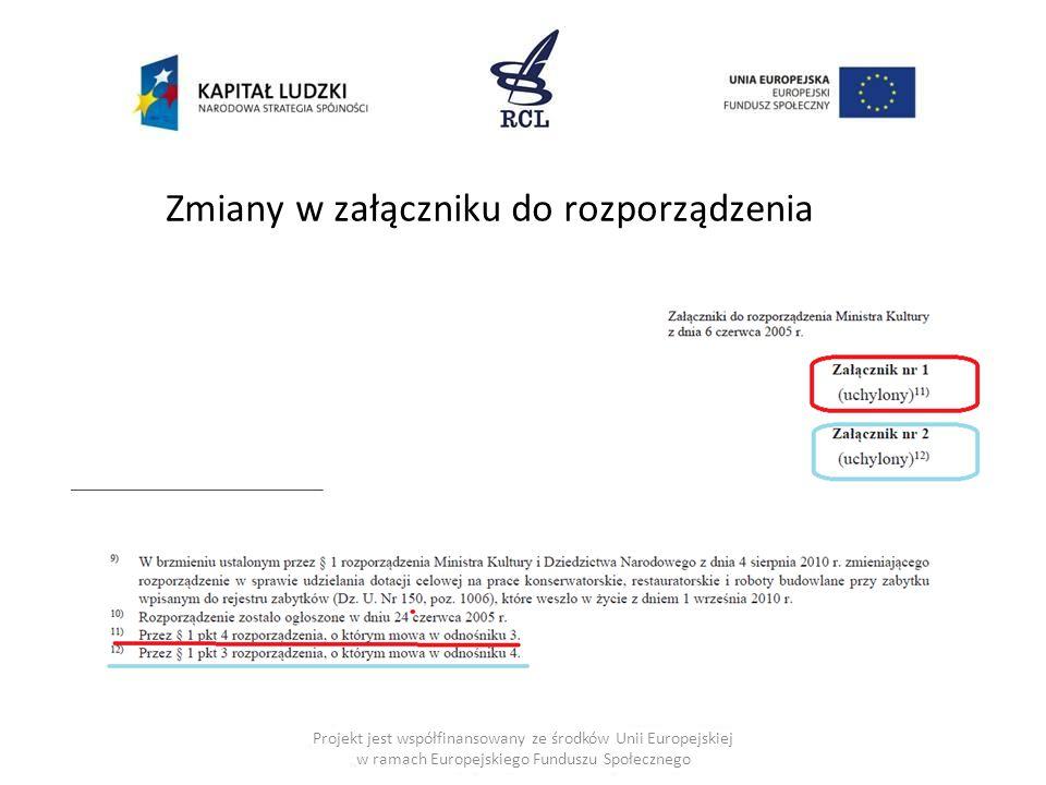 Zmiany w załączniku do rozporządzenia Projekt jest współfinansowany ze środków Unii Europejskiej w ramach Europejskiego Funduszu Społecznego