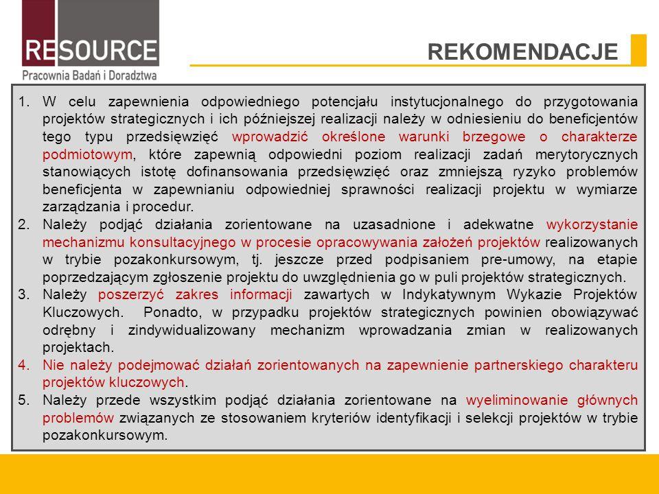 1.W celu zapewnienia odpowiedniego potencjału instytucjonalnego do przygotowania projektów strategicznych i ich późniejszej realizacji należy w odniesieniu do beneficjentów tego typu przedsięwzięć wprowadzić określone warunki brzegowe o charakterze podmiotowym, które zapewnią odpowiedni poziom realizacji zadań merytorycznych stanowiących istotę dofinansowania przedsięwzięć oraz zmniejszą ryzyko problemów beneficjenta w zapewnianiu odpowiedniej sprawności realizacji projektu w wymiarze zarządzania i procedur.