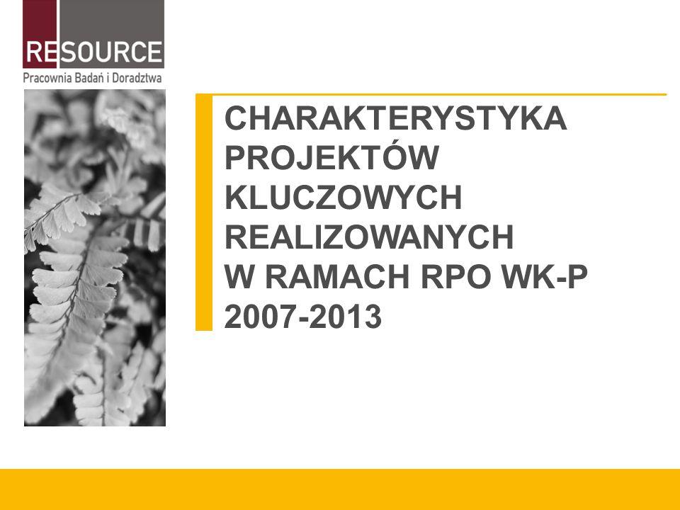 CHARAKTERYSTYKA PROJEKTÓW KLUCZOWYCH REALIZOWANYCH W RAMACH RPO WK-P 2007-2013