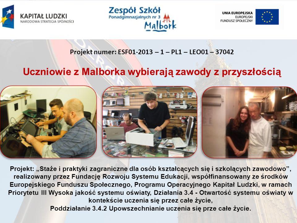 """Projekt numer: ESF01-2013 – 1 – PL1 – LEO01 – 37042 Uczniowie z Malborka wybierają zawody z przyszłością Projekt: """"Staże i praktyki zagraniczne dla osób kształcących się i szkolących zawodowo , realizowany przez Fundację Rozwoju Systemu Edukacji, współfinansowany ze środków Europejskiego Funduszu Społecznego, Programu Operacyjnego Kapitał Ludzki, w ramach Priorytetu III Wysoka jakość systemu oświaty, Działania 3.4 - Otwartość systemu oświaty w kontekście uczenia się przez całe życie, Poddziałanie 3.4.2 Upowszechnianie uczenia się prze całe życie."""