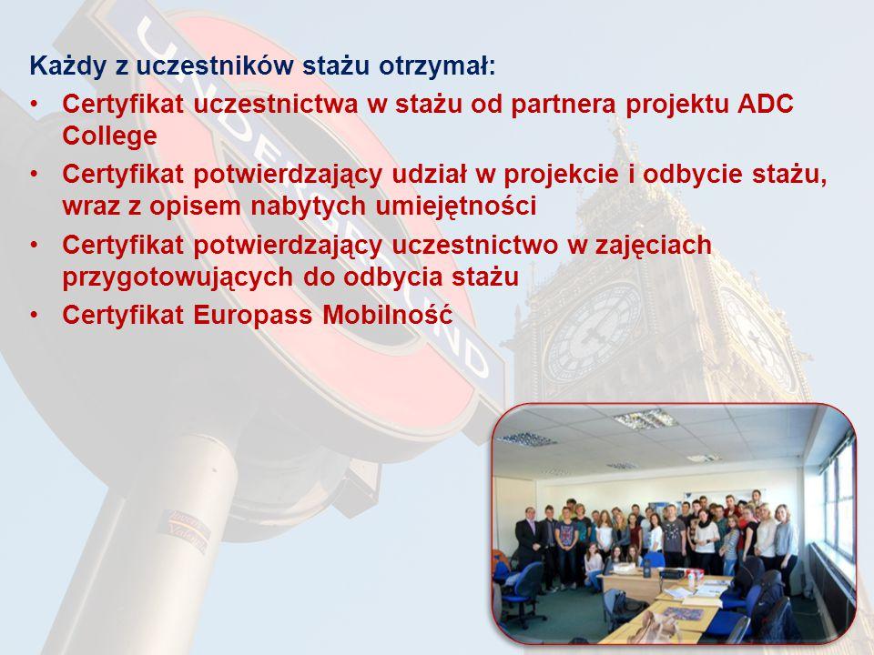 Każdy z uczestników stażu otrzymał: Certyfikat uczestnictwa w stażu od partnera projektu ADC College Certyfikat potwierdzający udział w projekcie i odbycie stażu, wraz z opisem nabytych umiejętności Certyfikat potwierdzający uczestnictwo w zajęciach przygotowujących do odbycia stażu Certyfikat Europass Mobilność