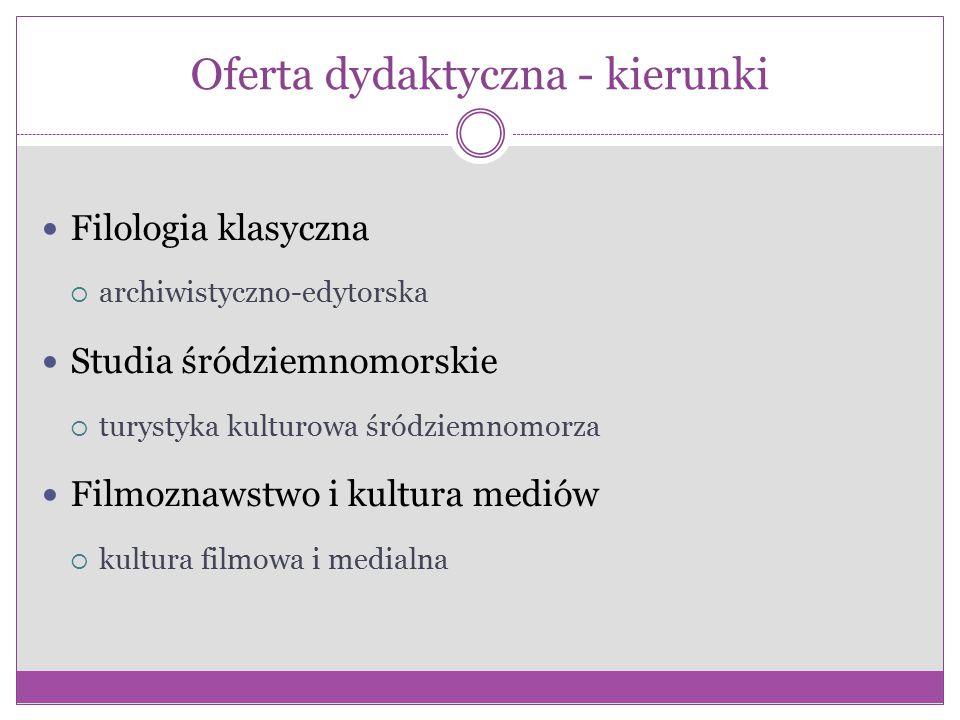 Oferta dydaktyczna - kierunki Filologia klasyczna  archiwistyczno-edytorska Studia śródziemnomorskie  turystyka kulturowa śródziemnomorza Filmoznawstwo i kultura mediów  kultura filmowa i medialna