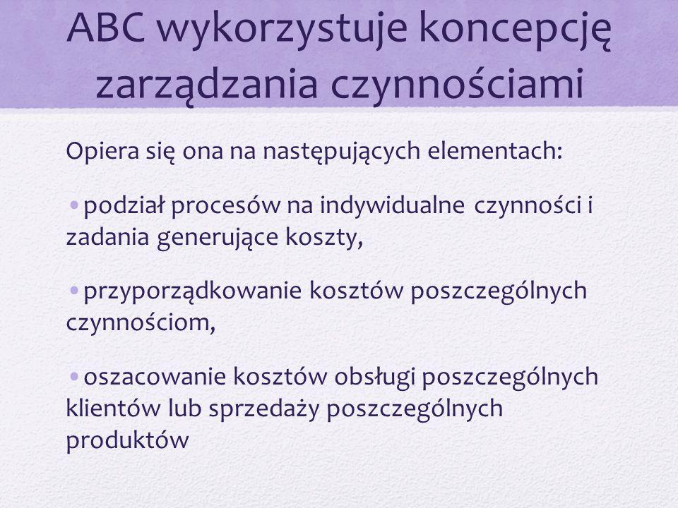 ABC wykorzystuje koncepcję zarządzania czynnościami Opiera się ona na następujących elementach: podział procesów na indywidualne czynności i zadania g