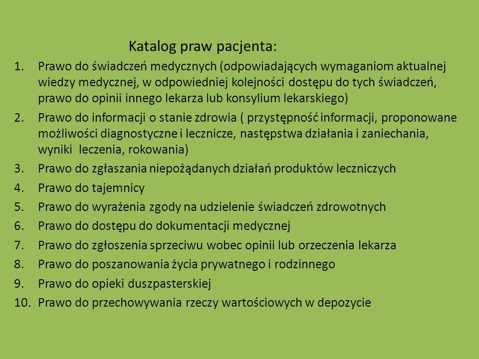 Katalog praw pacjenta: 1.Prawo do świadczeń medycznych (odpowiadających wymaganiom aktualnej wiedzy medycznej, w odpowiedniej kolejności dostępu do ty