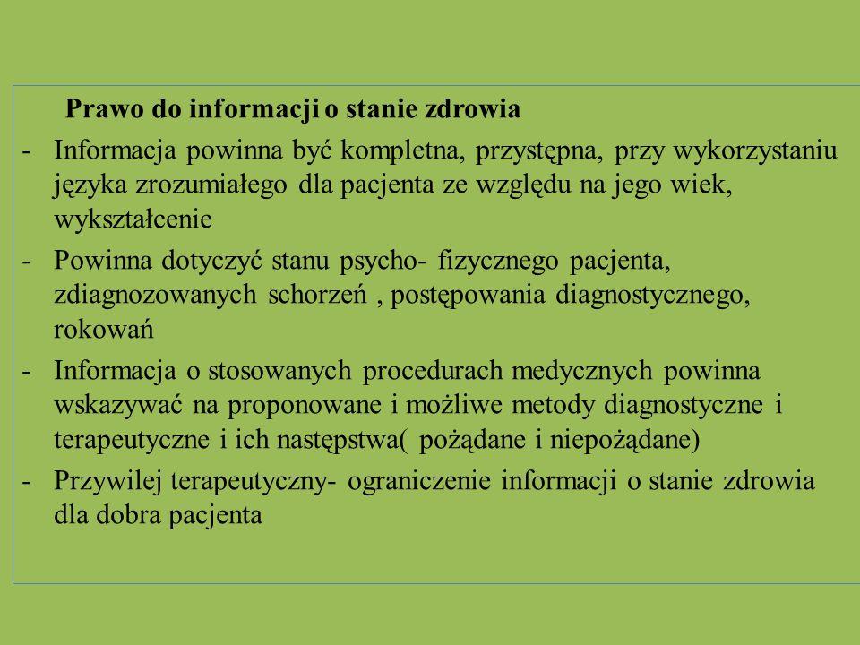 Prawo do zgłaszania niepożądanych działań produktów leczniczych - Prawo do zgłaszania osobom wykonującym zawód medyczny działania niepożądanego produktu leczniczego Prawo do przechowywania rzeczy wartościowych w depozycie Pacjent przebywający w podmiocie leczniczym ma prawo do przechowywania na koszy tej placówki rzeczy wartościowych w depozycie Prawo do opieki duszpasterskiej Pacjenci przebywający w szpitalach mają prawo do opieki duszpasterskiej.