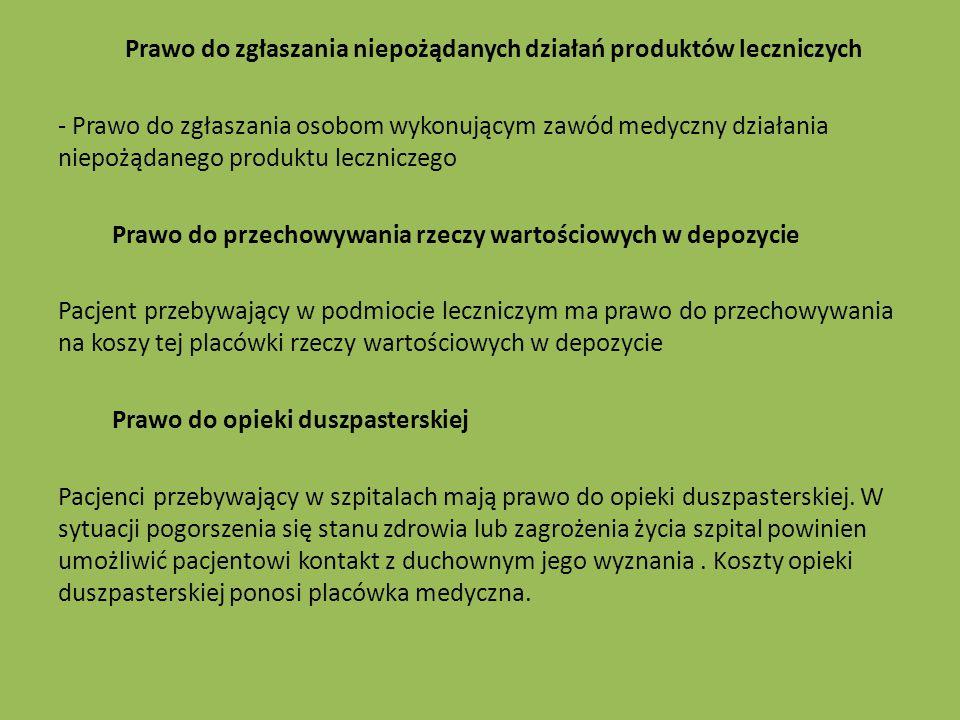 Prawo do zgłaszania niepożądanych działań produktów leczniczych - Prawo do zgłaszania osobom wykonującym zawód medyczny działania niepożądanego produk