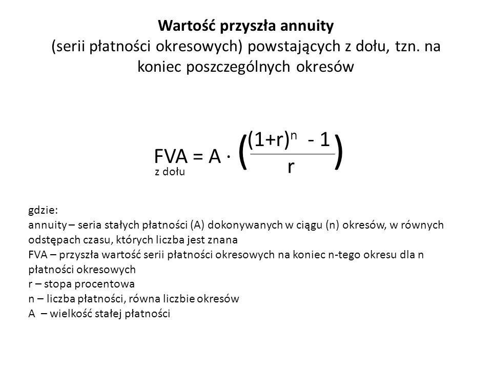 Wartość przyszła annuity (serii płatności okresowych) powstających z dołu, tzn. na koniec poszczególnych okresów FVA = A ∙ ( ) (1+r) n - 1 r gdzie: an