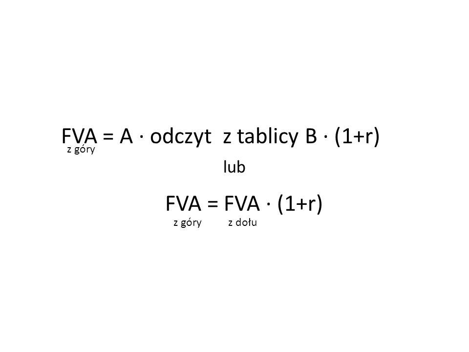 FVA = A ∙ odczyt z tablicy B ∙ (1+r) lub FVA = FVA ∙ (1+r) z góry z dołu